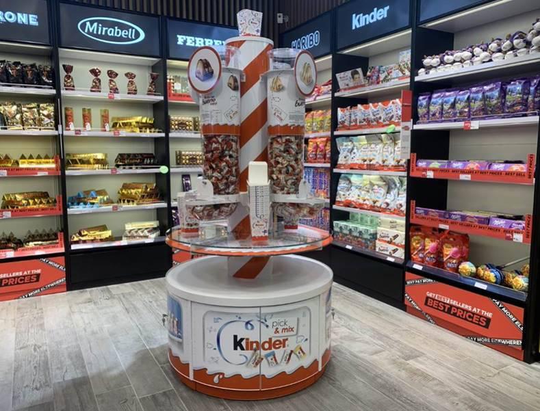 Kinder airport retail display dispenser